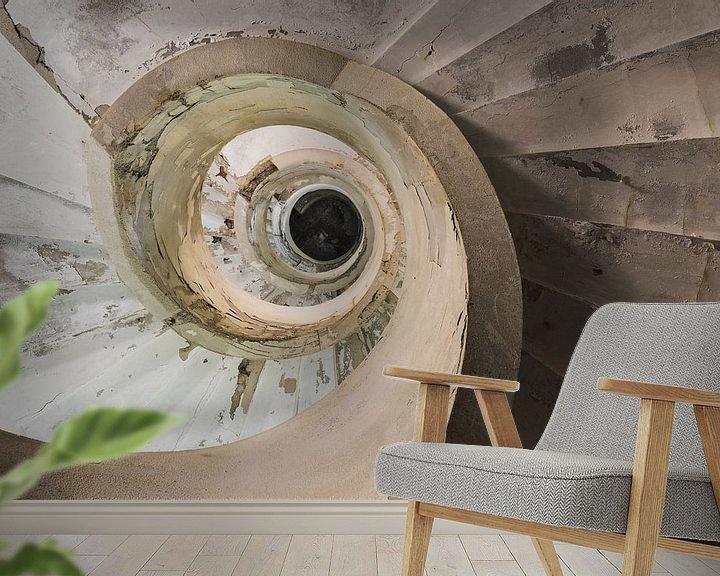 Beispiel fototapete: Wendeltreppe nach oben von Perry Wiertz