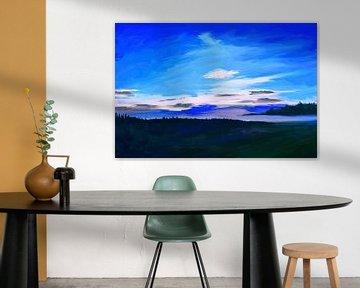 Impressionistisches Landschaftsgemälde in Blau von Tanja Udelhofen