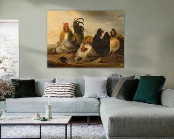 Haan en kippen in een landschap - Melchior d'Hondecoeter