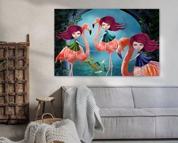 Flamingo Drieling - Mail je foto en jouw kids spelen de hoofdrol in dit werk! sur Anouk Muller - Funqy Wall Art