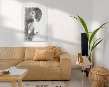 Naaktmodel Tekening, Nude model Drawing, Dessin de Modèle Nu, Aktmodell Zeichnung von Sylvia Dekker