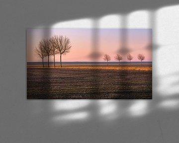 Sonnenaufgang im Norden von Groningen, Niederlande