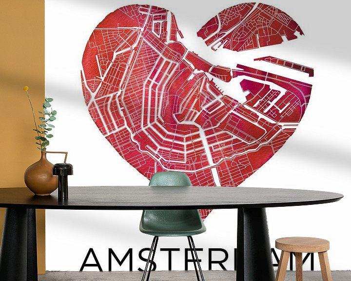 Impression: Amsterdam | Plan de la ville dans un coeur sur Wereldkaarten.Shop