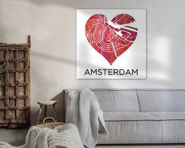 Amsterdam | Stadtplan in einem Herzen von Wereldkaarten.Shop