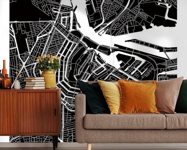 Sfeerimpressie behang: Amsterdam Noord en Zuid | Stadskaart ZwartWit van Wereldkaarten.Shop