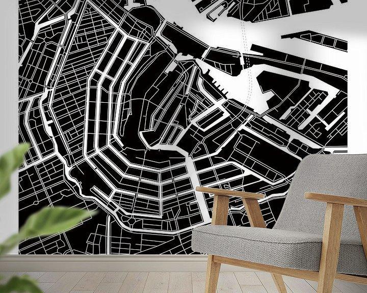 Sfeerimpressie behang: Amsterdam Grachtengordel | Stadskaart ZwartWit van Wereldkaarten.Shop