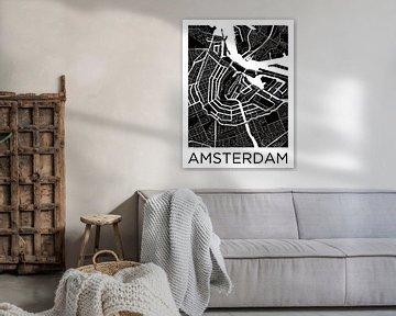 Amsterdam Canal Ring Stadtplan ZwartWit von Wereldkaarten.Shop