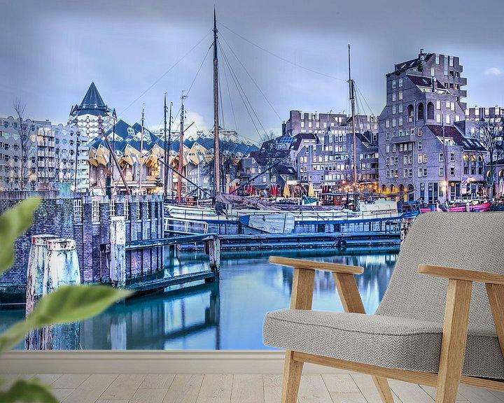 Sfeerimpressie behang: De Oude Haven in alle vroegte van Frans Blok