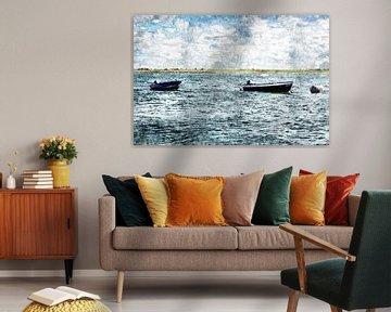 2 bateaux sur l'eau à Sint Philipsland (province de Zeeland, Pays-Bas) (oeuvre d'art) sur Art by Jeronimo