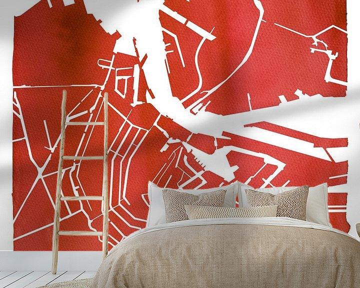Sfeerimpressie behang: Amsterdam Waterkaart Rood | Vierkant met Witte kader van Wereldkaarten.Shop