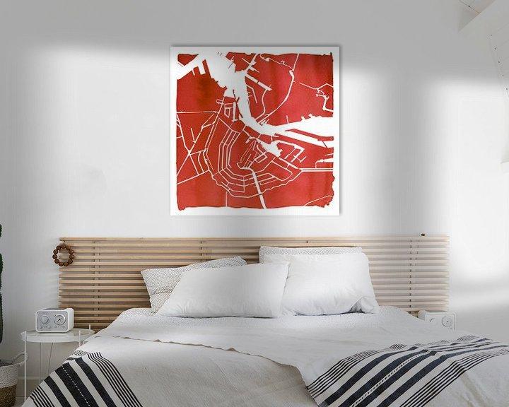 Sfeerimpressie: Amsterdam Waterkaart Rood | Vierkant met Witte kader van Wereldkaarten.Shop