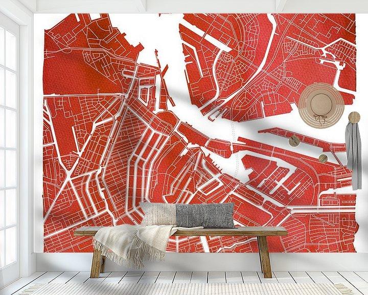 Sfeerimpressie behang: Amsterdam Centrum en Noord | Stadskaart Rood | Vierkant met Witte kader van Wereldkaarten.Shop
