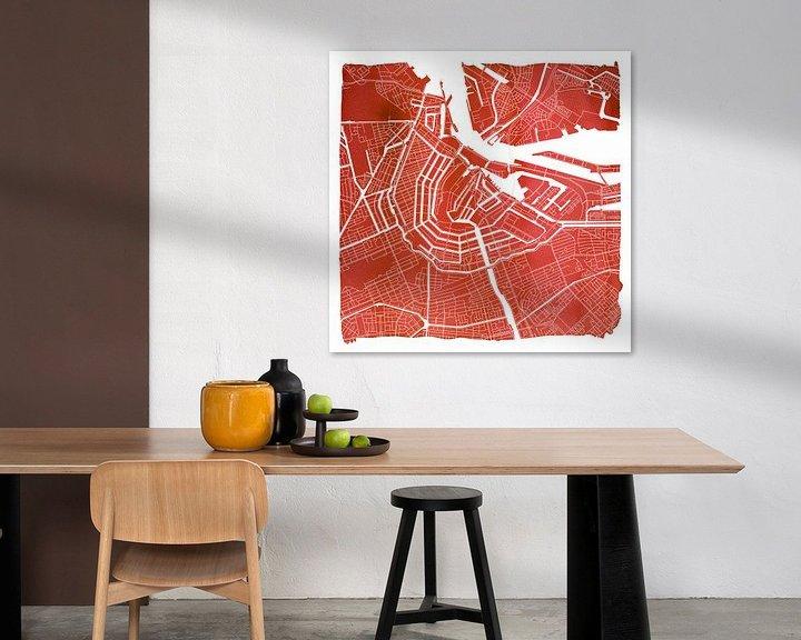 Sfeerimpressie: Amsterdam Noord en Zuid | Stadskaart Rood | Vierkant met Witte kader van Wereldkaarten.Shop