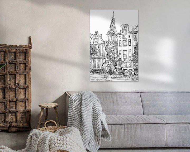 Sfeerimpressie: Tekening Zuiderkerk Amsterdam Pentekening Lijntekening van Hendrik-Jan Kornelis