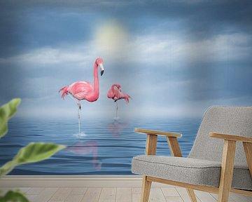 Flamingos (3) van Ursula Di Chito