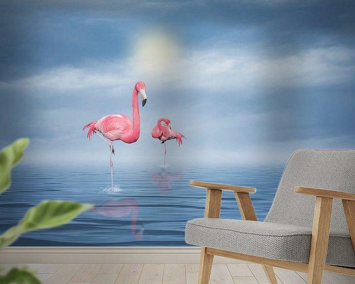 Sfeerimpressie behang: Flamingos (3) van Ursula Di Chito
