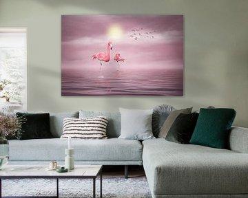 Flamingos (2) van Ursula Di Chito