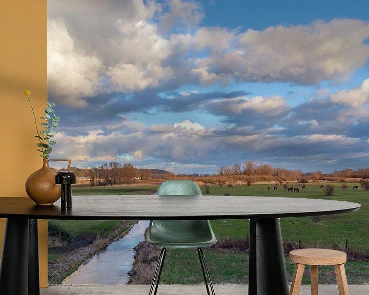 Sfeerimpressie behang: Wagenings Landschap van Robert Stienstra