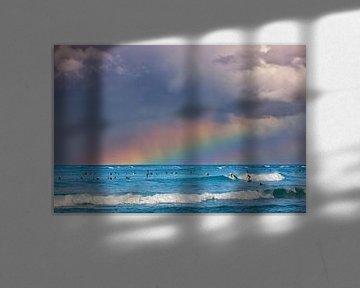 Regenboog Waikiki Beach, Oahu, Hawaii van Henk Meijer Photography