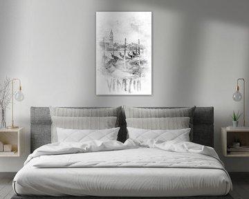 Monochrome Kunst CANAL GRANDE | Aquarell von Melanie Viola