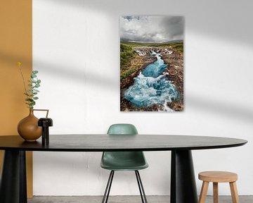 Waterfall with blue coloring van Ralf Lehmann