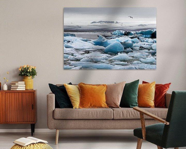 Beispiel: Eisformationen vor einem großen Gletscher in Island von Ralf Lehmann