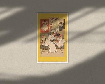 Sitzende Frau betrachtet Drucke, Armand Rassenfosse