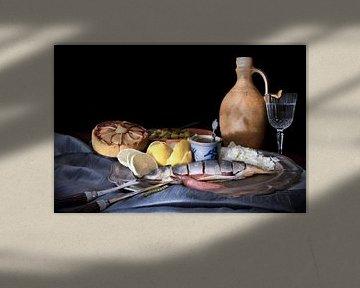 Stillleben mit tisch dekken und fisch im alten holländischen Stil von Marianne van der Zee