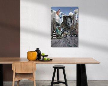 Collage Eindhoven City. Hoogtepunten van de stad. van Marianne van der Zee