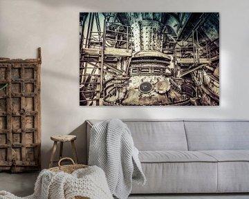 Machinerie van een hoogoven in retrolook von Okko Huising - okkofoto