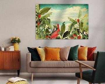 Botanisch met tropische vogels en bloemen von Studio POPPY