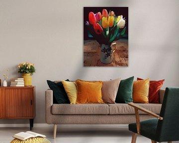 Frühling bunte Tulpen Blumenposter von Robert Biedermann
