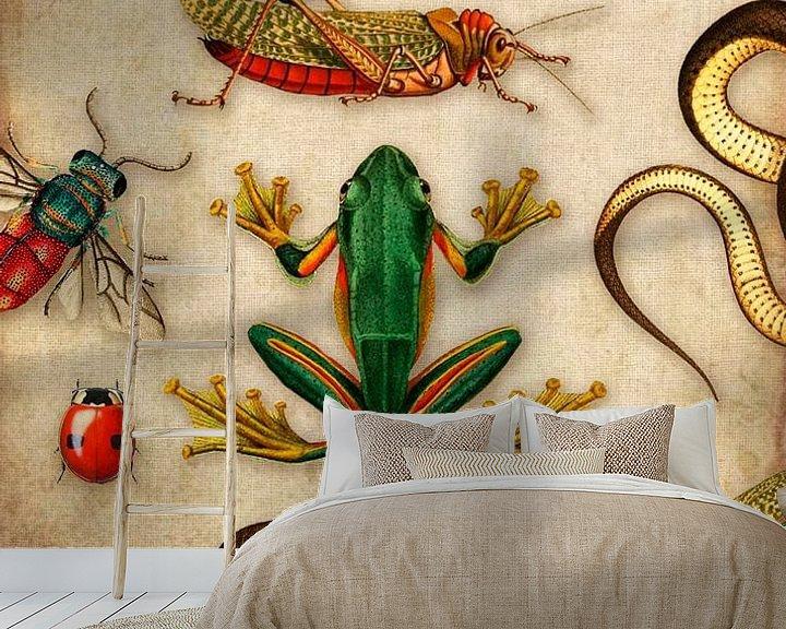 Sfeerimpressie behang: Tropische schoolplaat met reptielen en insecten van Studio POPPY