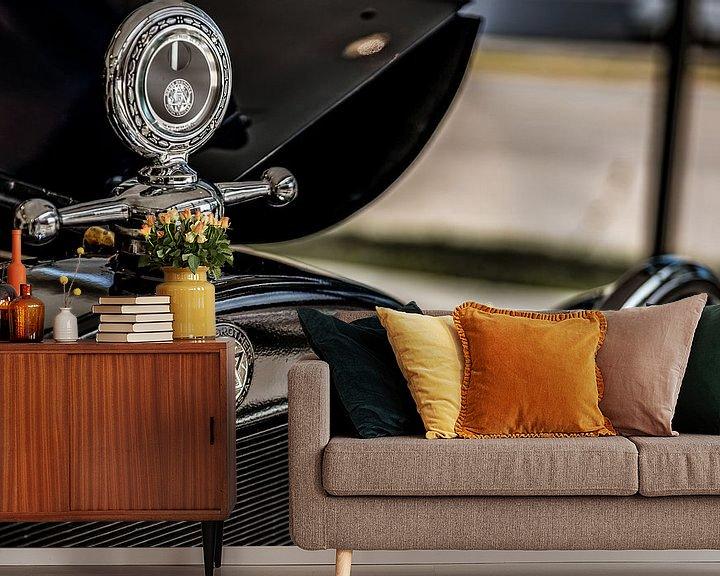 Sfeerimpressie behang: Grille logo en hood ornament van een Dodge Brothers Detroit USA van autofotografie nederland