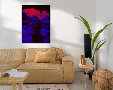 Blumenposter Tulpen rot-blau von Robert Biedermann