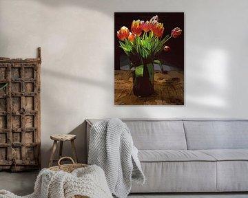 Blumenposter Tulpen orange von Robert Biedermann