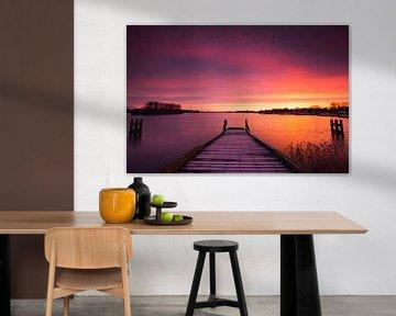 Purple sunrise Rotterdam, the Netherlands. van Stefan Vis