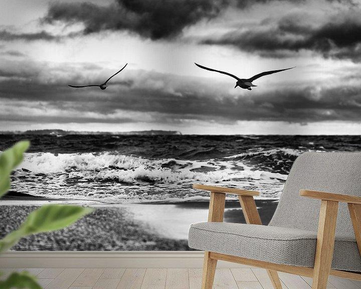 Beispiel fototapete: Fliegende Vögel am Ostseestrand in schwarz-weiß von Ralf Lehmann