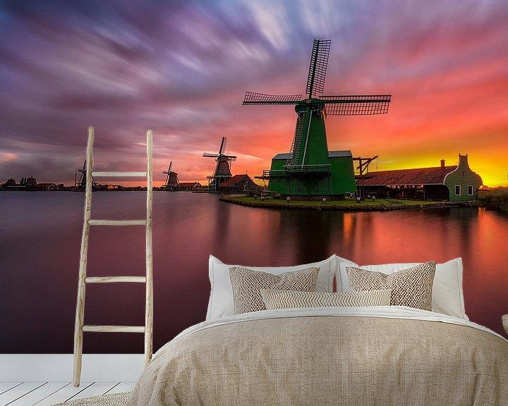 Beispiel fototapete: A sunrise to remember in Zaanse Schans von Costas Ganasos