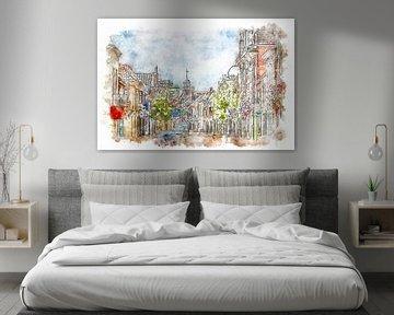 Grote Kerkstraat in Steenbergen (Brabant, Niederlande) (Aquarell) von Art by Jeronimo