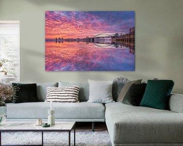 sunset boven de IJssel von Michel Jansen