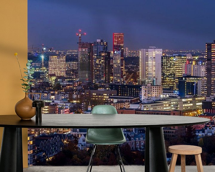 Sfeerimpressie behang: Skyline Rotterdam van Jeroen Kleiberg