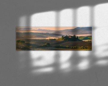 Sonnenaufgang am Podere Belvedere, Toskana, Italien