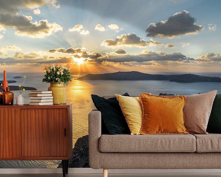 Beispiel fototapete: Strahlender Sonnenuntergang auf der Vulkaninsel Santorini von Ralf Lehmann