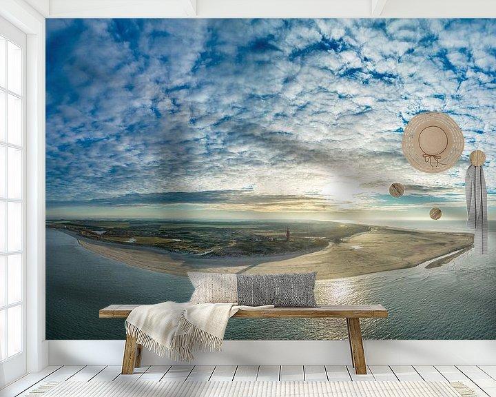 Sfeerimpressie behang: Vuurtoren Eierland Texel zonsondergang van Texel360Fotografie Richard Heerschap