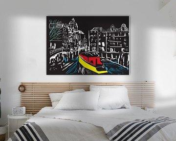 boot in de Amsterdamse grachten van Gerrit Neuteboom