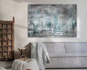 City Shapes MANHATTAN COLLAGE | türkis von Melanie Viola