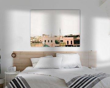 Place des Epices | Dakterrassen in Marrakech Marokko | Fine art reisfotografie print van Raisa Zwart
