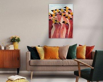 Gruppe von Flamingos von Natalie Bruns