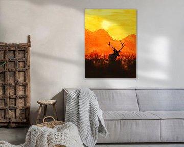 Rotwild in der Abendsonne von Natalie Bruns